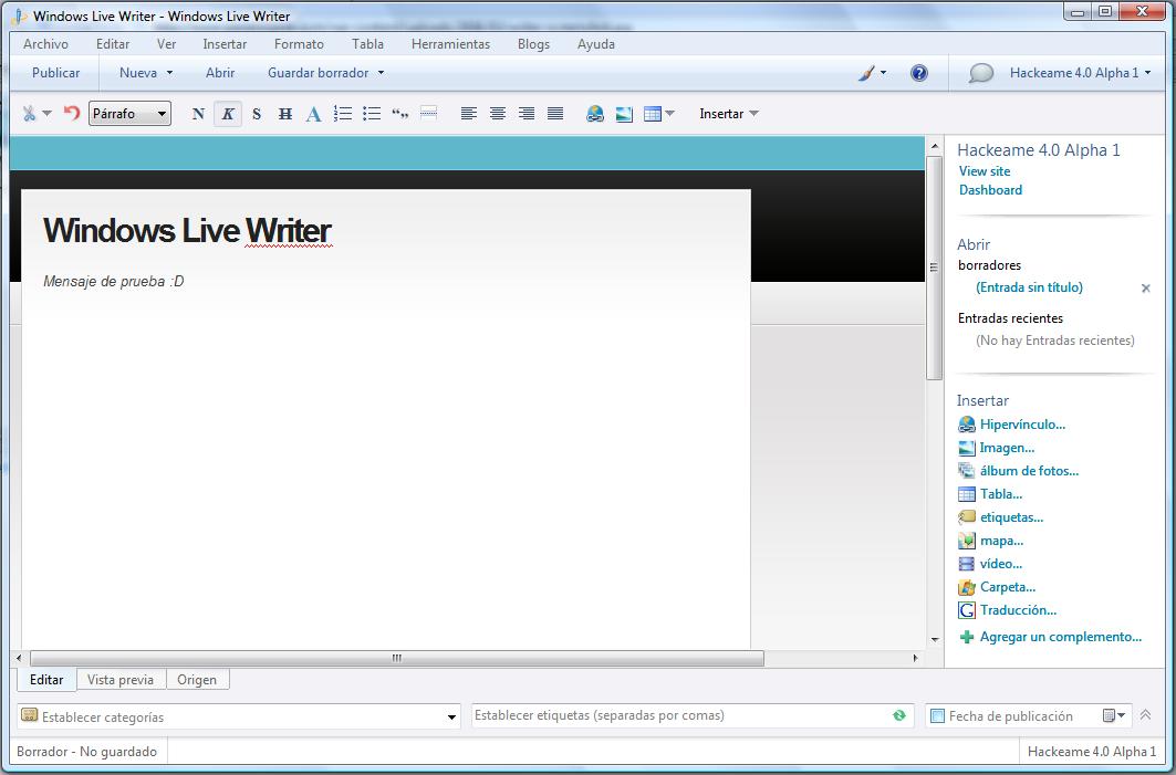 Windows Live Writer | Escribe en la Comodidad de tu PC