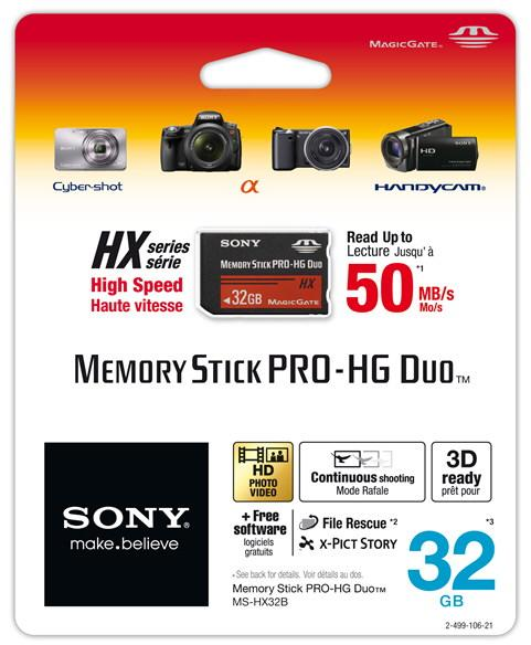 Sony anuncia sus Tarjetas de Memoria Memory Stick PRO-HG Duo HX