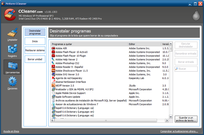 Descargar CCleaner 3.12.1572 gratis