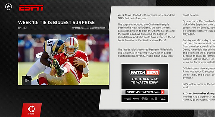 ESPN para Windows 8 disponible en la Windows Store