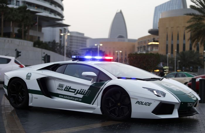 A Lamborghini Aventador, a model used by Dubai police, is seen on patrol in Dubai