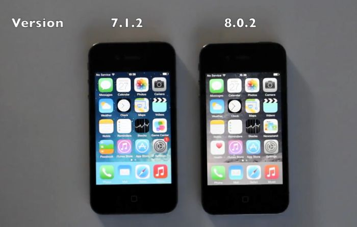 iOS 7 y iOS 8 comparados en el iPhone 4S