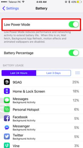iOS 9 vida de bateria